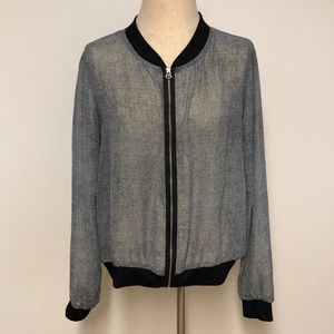 sheer chiffon bomber jacket